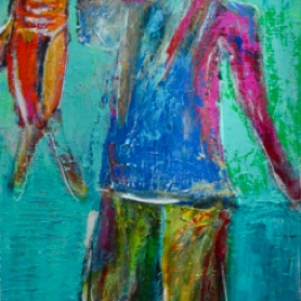 "FISHER BOY 36""x18"" Mixed Media"